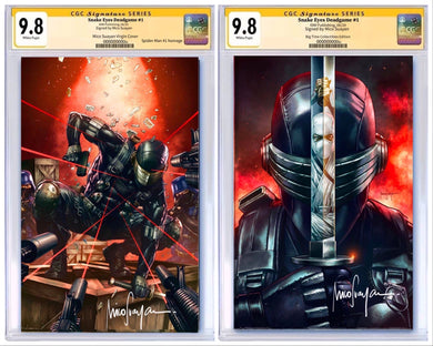 SNAKE EYES DEADGAME #1 BTC EXCLUSIVE VIRGIN VARIANTS CGC 9.8 SIGNED BY MICO SUAYAN
