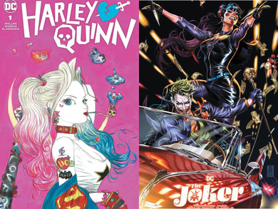 THE JOKER #1 BROOKS EXCLUSIVE & HARLEY QUINN #1 AMANO EXCLUSIVE TEAM VARIANT SET 03/24/21