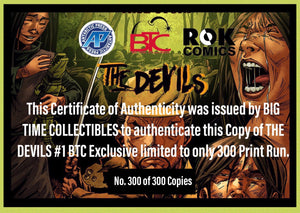 THE DEVILS #1 BTC EXCLUSIVE LIMITED TO 300 COPIES PRINT RUN 02/13/19