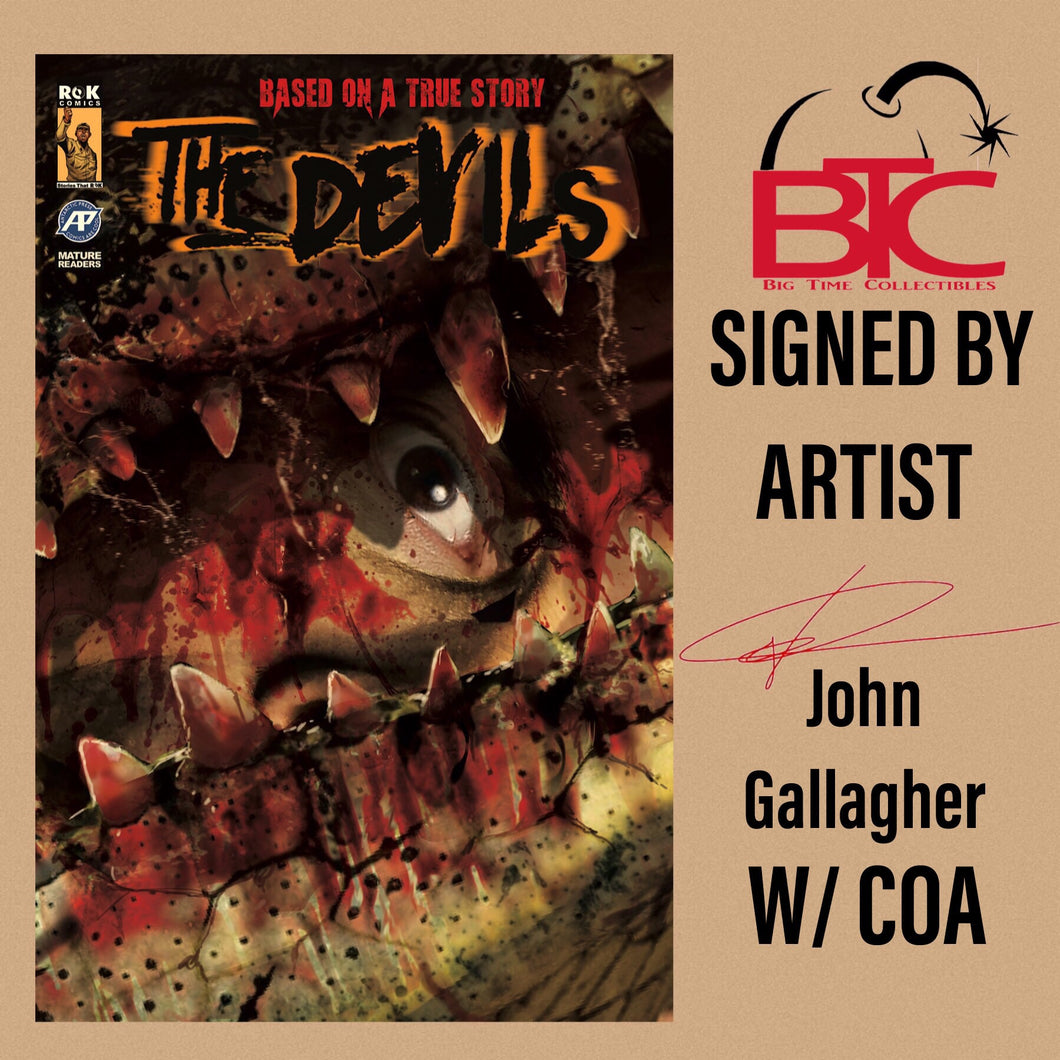 THE DEVILS #2 BTC EXCLUSIVE SIGNED BY JOHN GALLAGHER WITH COA (NM RAW COPY)