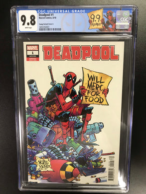 DEADPOOL #1 1:25 YOUNG VARIANT CGC 9.8 W/MATCHING DEADPOOL YOUNG CUSTOM LABEL