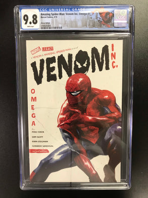 AMAZING SPIDER-MAN VENOM INC OMEGA #1 DELLOTTO 1:50 VARIANT CGC 9.8 W/SPIDER-MAN CUSTOM LABEL