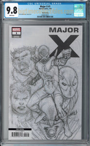 MAJOR X #1 3RD PRT 1:25 SKETCH COVER CGC 9.8
