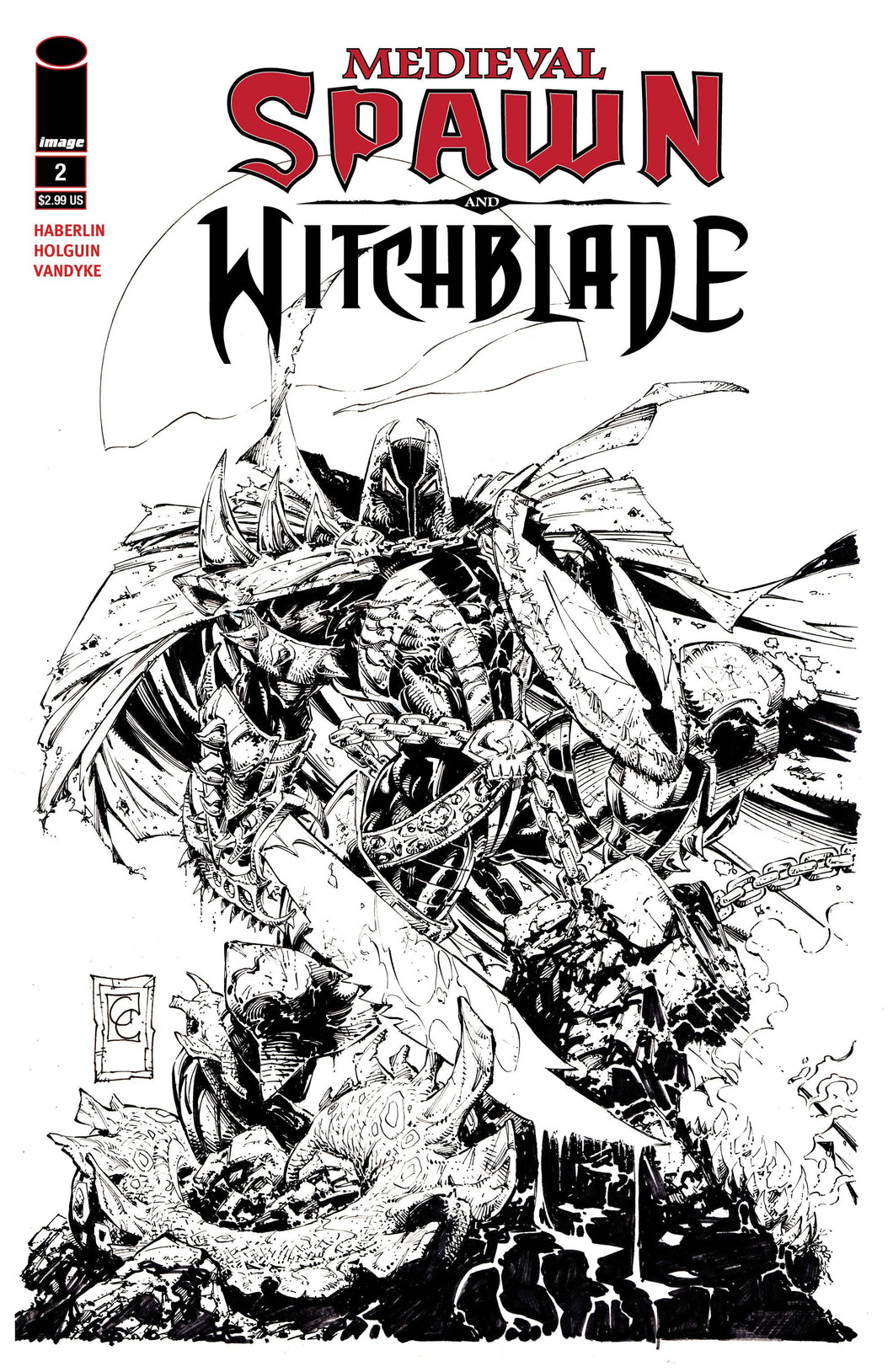 MEDIEVAL SPAWN WITCHBLADE #2 (OF 4) CVR C B&W GREG CAPULLO 06/06