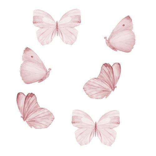 Image of   That's Mine Flytbar & genanvendelig Wallsticker sommerfugle - rosa (6 stk.)