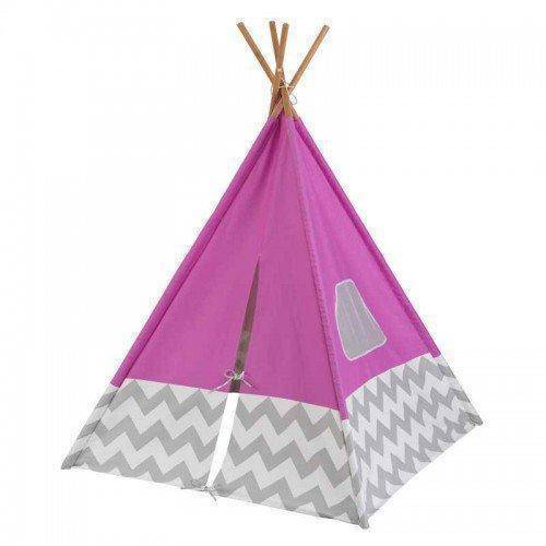 Kidkraft Deluxe Play Teepee - Pink & Gray Chevron Playhouse- Bounce and Swing