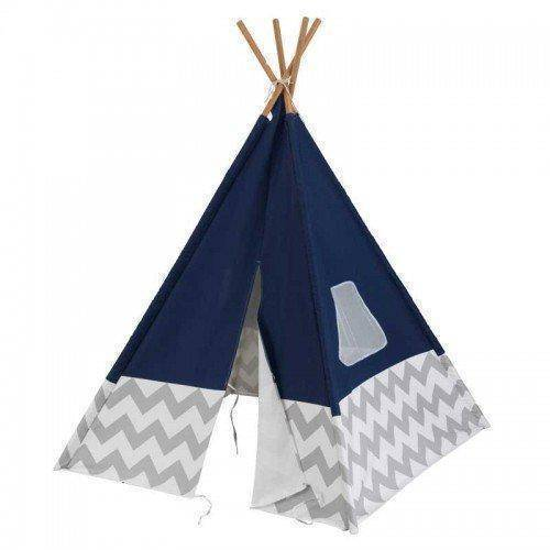 Kidkraft Deluxe Play Teepee - Navy & Gray Chevron Playhouse- Bounce and Swing