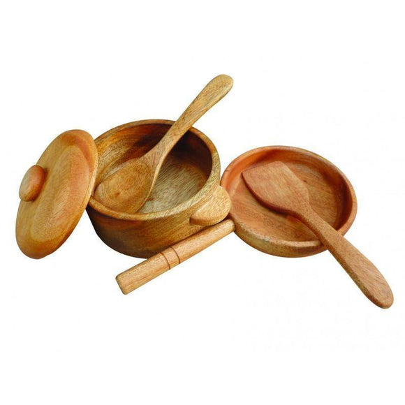 QToys Mahogany Pan & Pot Set Play Sets- Bounce and Swing