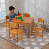 Kidkraft Farmhouse Table & 4 Chairs - Natural Furniture- Bounce and Swing
