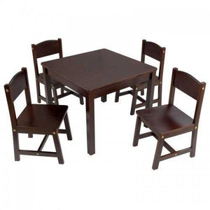 Kidkraft Farmhouse Table & 4 Chairs - Espresso Furniture- Bounce and Swing