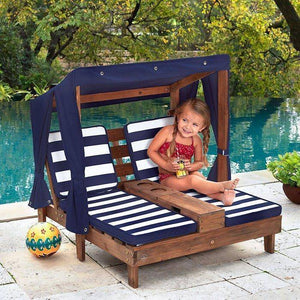 Kidkraft Double Chaise Lounge with Cup Holders Play Sets- Bounce and Swing