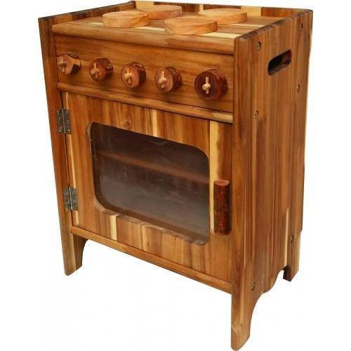 QToys Natural Wooden Stove Play Sets- Bounce and Swing