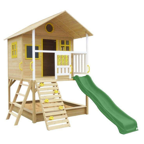 Lifespan Warrigal Cubby House with Green Slide Playhouse- Bounce and Swing