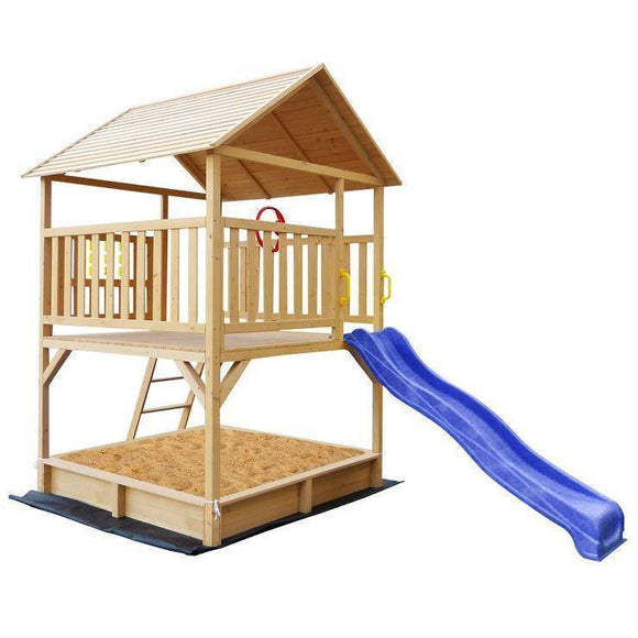 Lifespan Stanford Cubby House with Blue Slide Playhouse- Bounce and Swing