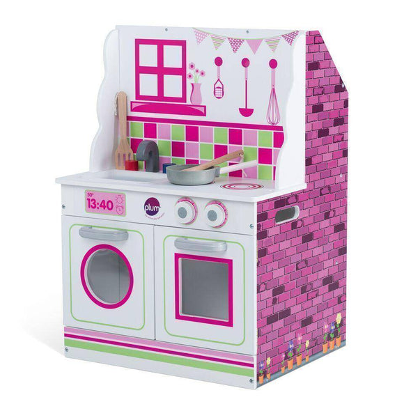 PLUM 2 in 1 Dolls House and Kitchen Play Sets- Bounce and Swing