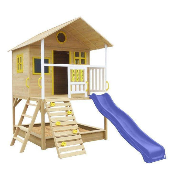 Lifespan Warrigal Cubby House with Blue Slide Playhouse- Bounce and Swing