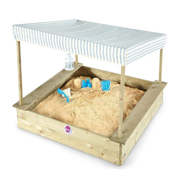 PLUM  Palm Beach Wooden Sandpit with Canopy Outdoor Play- Bounce and Swing