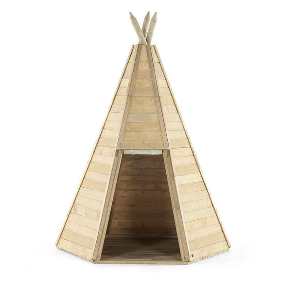 PLUM Great Wooden Teepee Hideaway Playhouse- Bounce and Swing