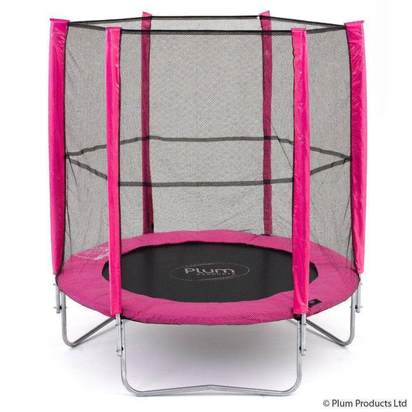 PLUM 6ft Junior Trampoline - Pink Trampolines- Bounce and Swing