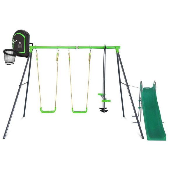 Lifespan Hurley 2 Metal Swing Set with Slide & Hoop