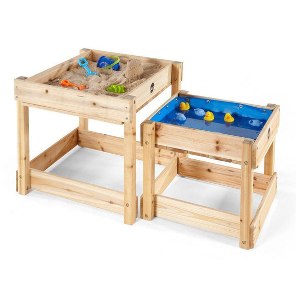 PLUM Sandy Bay Wooden Play Tables Outdoor Play- Bounce and Swing