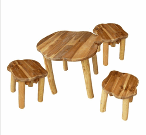 QToys Shabby Round Table &  Stools Outdoor Furniture- Bounce and Swing