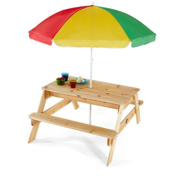 PLUM Picnic Table with Umbrella (Natural) Outdoor Play- Bounce and Swing
