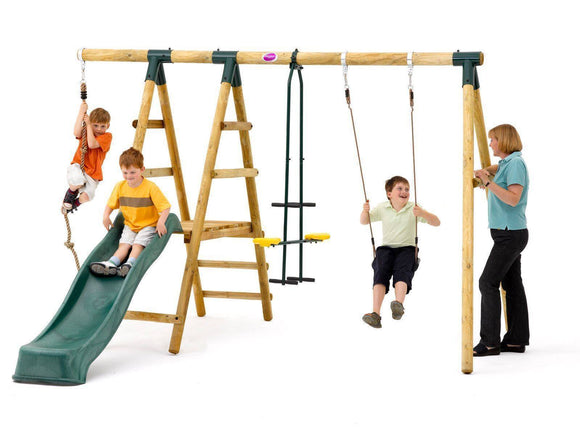 PLUM Meerkat Wooden Swing Set Sliders&Swings- Bounce and Swing