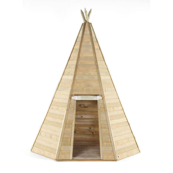 PLUM Grand Wooden Teepee Hideaway Playhouse- Bounce and Swing