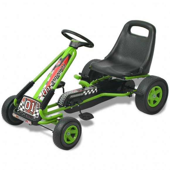 vidaXL Green Pedal Go Kart with Adjustable Seat