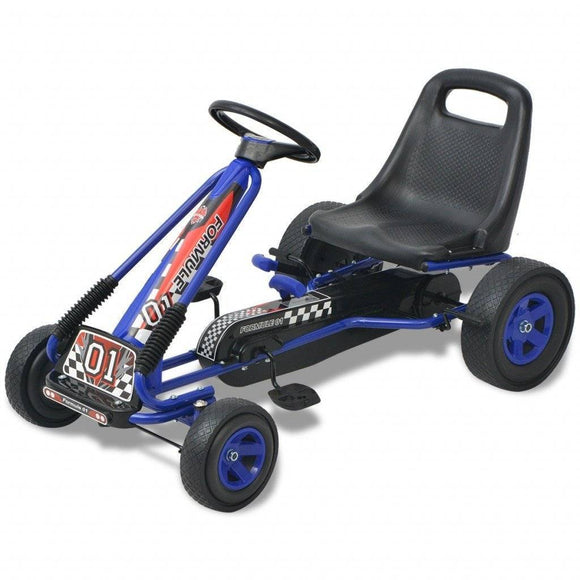 vidaXL Blue Pedal Go Kart with Adjustable Seat