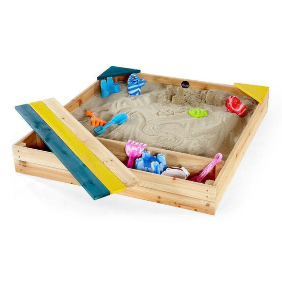 PLUM Store-it Wooden Sand Pit Outdoor Play- Bounce and Swing