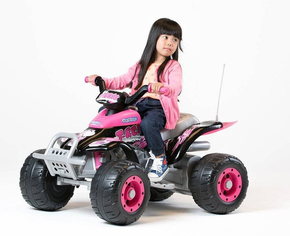 Peg Perego Corral T-Rex Pink Electric Quad 12v Ride On- Bounce and Swing