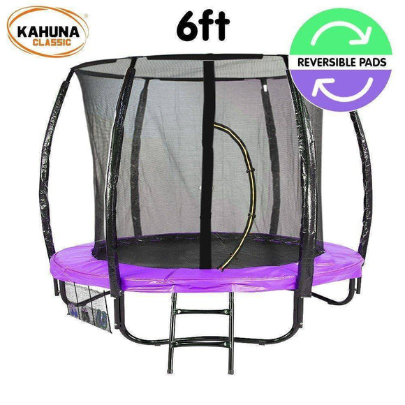 KAHUNA 6FT TRAMPOLINE REVERSIBLE PAD PURPLE GREEN BASKETBALL SET