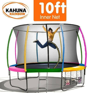 KAHUNA Trampoline 10FT Rainbow Trampolines- Bounce and Swing