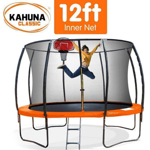 KAHUNA Trampoline 12FT With Basketball Set Orange Trampolines- Bounce and Swing