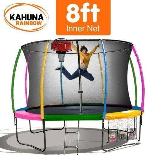 KAHUNA Trampoline 8FT Rainbow with Basketball Set Trampolines- Bounce and Swing