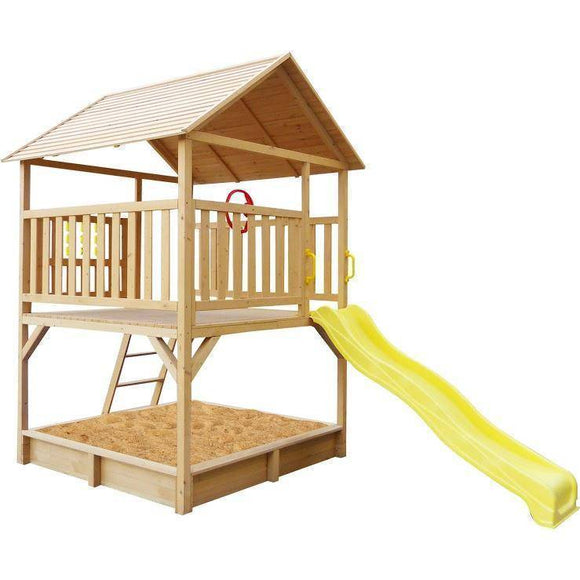 Lifespan Stanford Cubby House with Yellow Slide Playhouse- Bounce and Swing