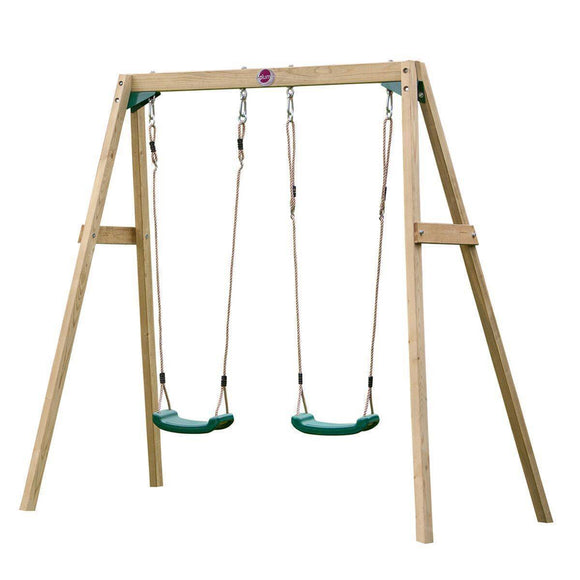 PLUM Double Wooden Swing Set Sliders&Swings- Bounce and Swing