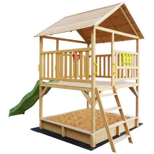 Lifespan Stanford Cubby House with Green Slide Playhouse- Bounce and Swing