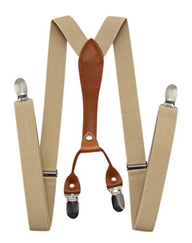 Perfect For Weddings /& Formal Events JAIFEI Mens X Back Suspenders /& Bowtie Set Coffee