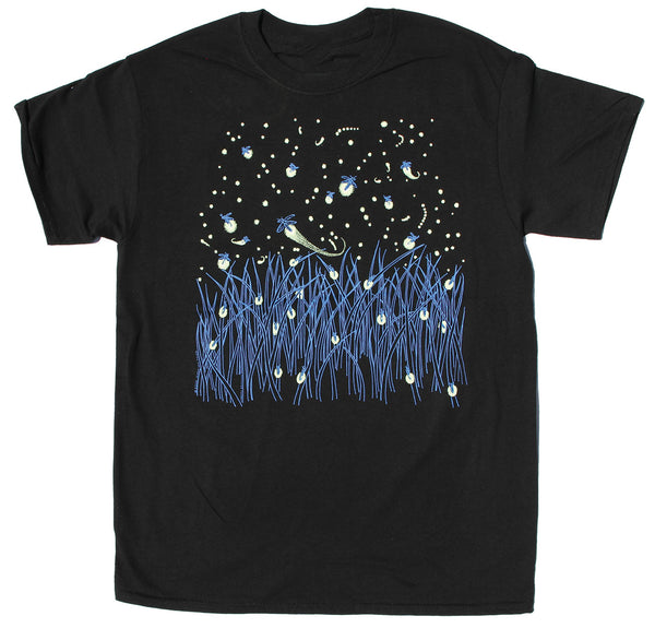 Fireflies Adult Black T-shirt