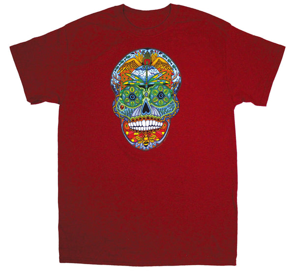 Earth Art Skull Adult Cardinal T-shirt