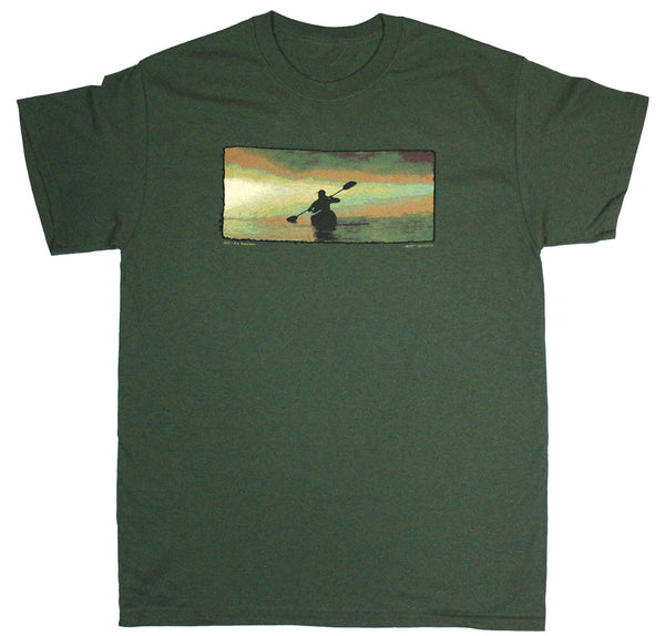 Dawn Kayaker Adult Olive Green T-shirt