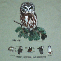 David Sibley's Saw-whet Owl Adult Sage T-shirt