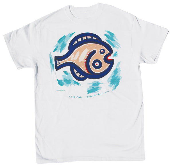Flat Fish Adult White T-shirt