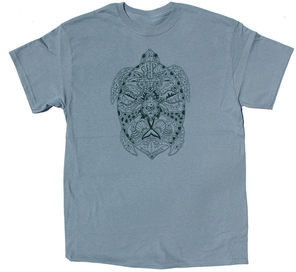 Earth Art Sea Turtle Adult Stone Blue T-shirt