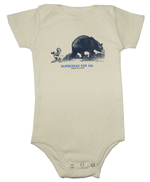 Robert McCloskey Blueberries for Sal- Bear Organic Infant Natural One-piece