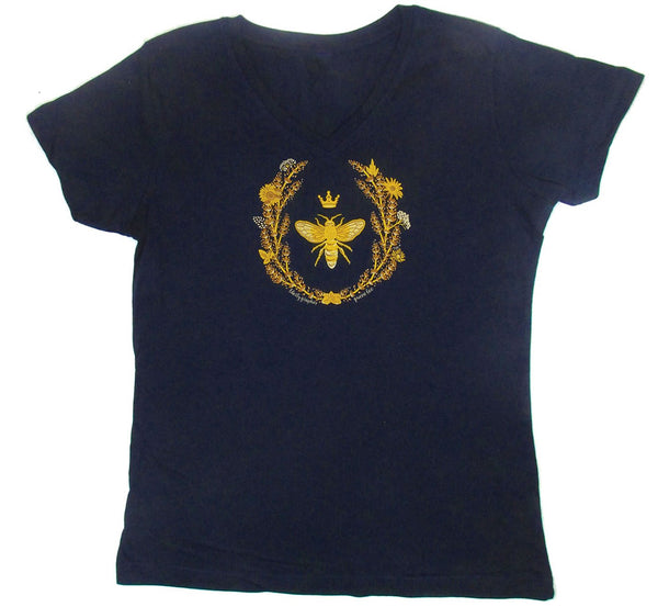 Queen Bee Premium V-Neck Fitted Navy T-shirt