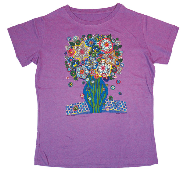 Blue Flowers LAT Ladies Fitted Lavender T-shirt